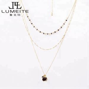 2019 Factory Price multi color golden pendant necklace, layered statement bead necklace, Wholesale Women choker gold necklace