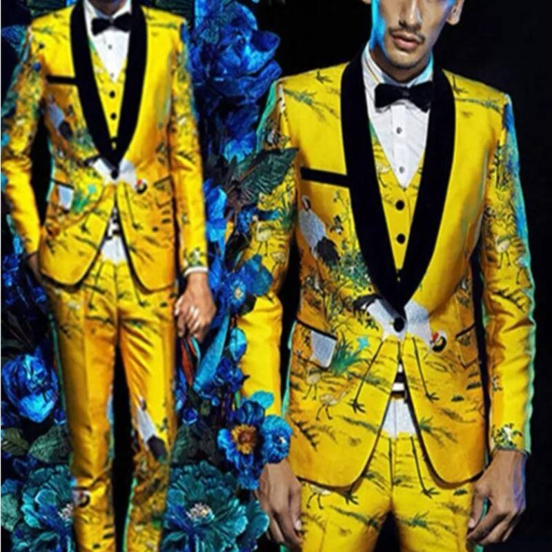 Men Suits Yellow Floral Blazers Slim Fit Groom Wedding Prom Singer Stage Costume Business Male Tuxedo Set (Jacket+Pants+Vest)