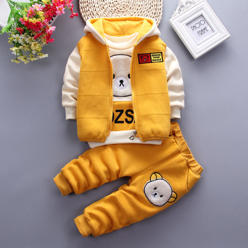 Comfortable casual cute cartoon bear printing spring autumn fall three pieces set boutique children clothes boys 2019