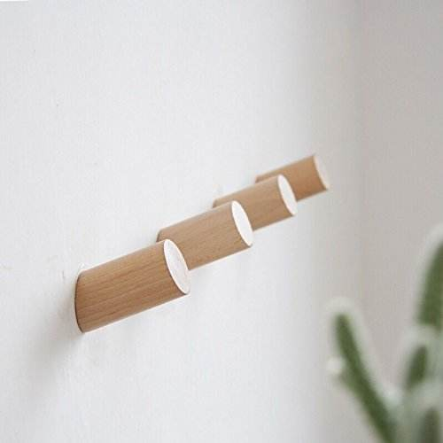 Natural Wooden Coat Hooks Wall Mounted Vintage Single Organizer Hangers