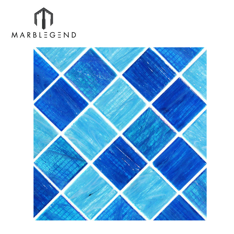 swimming pool floor aquatic ocean blue square manufacturer glass mosaic tile