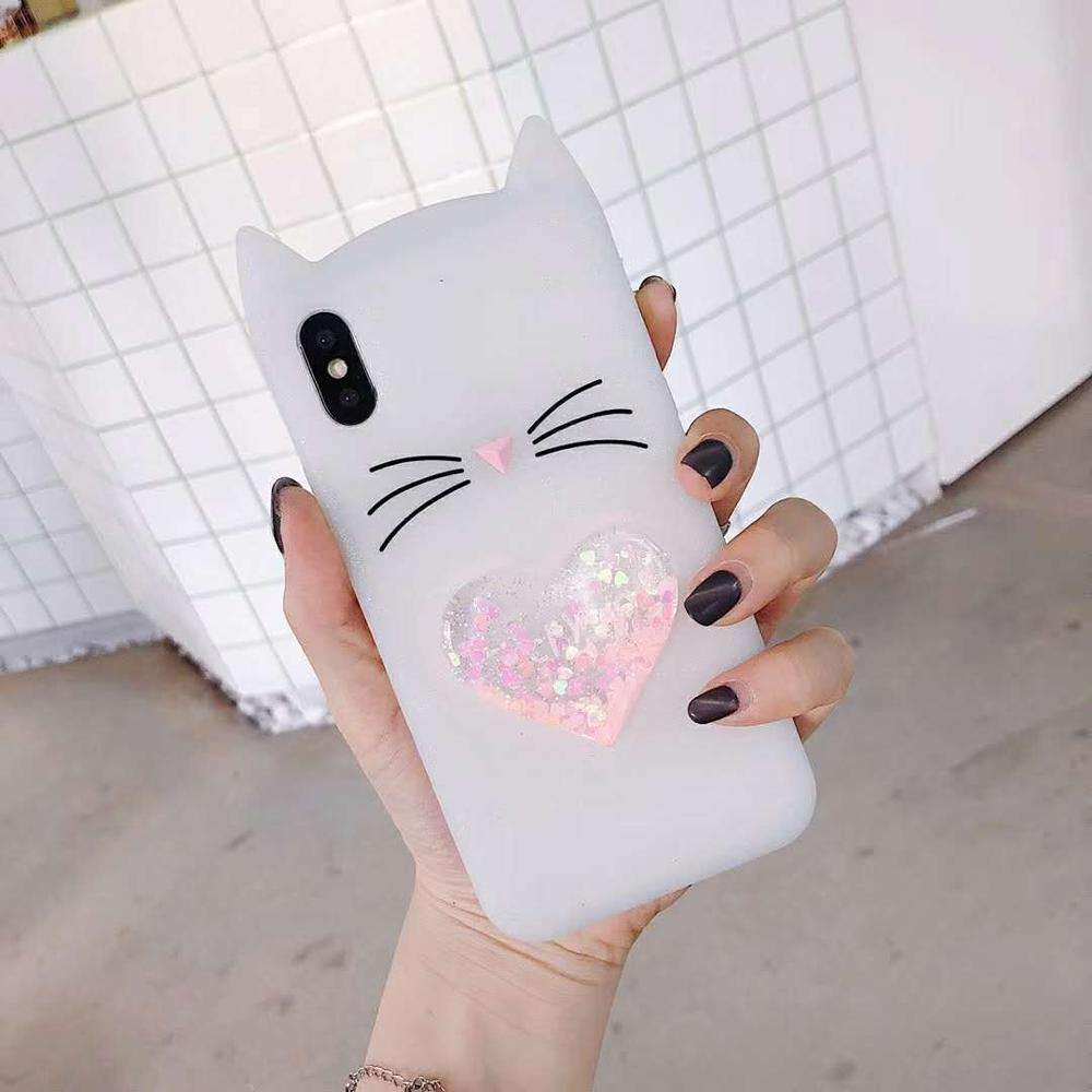 Merah Muda Cair Glitter Kucing Lucu Kucing Bling Floating Jantung Sparkle Cover UNTUK iPhone Girly Mengalir Fashion iPhone Pelindung