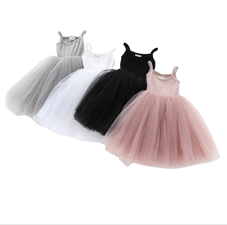 Kids 2019 Summer Wholesale Tutu Dress For 9-48M Girls Casual Spaghetti strap Sleeveless Dress Cotton