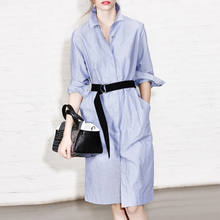 Long sleeve blue single-breasted tunic belt shirt dress office staff uniform with waistband