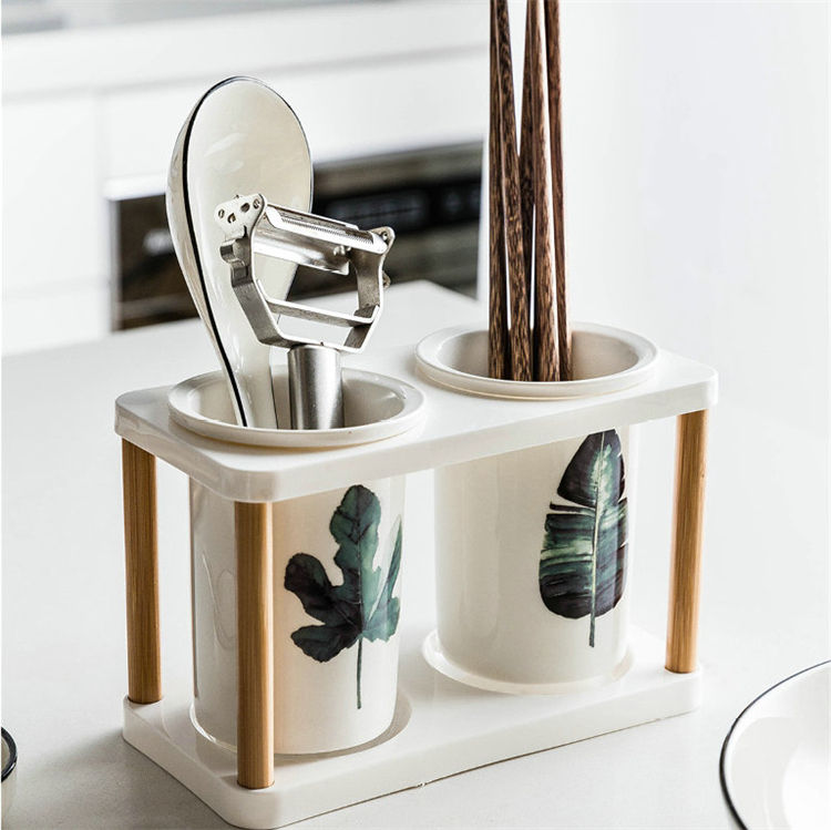 Kitchen ware flatware holder summer style leaf decal ceramic cutlery holder for hotel