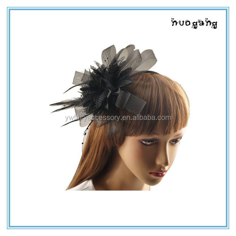 Wedding bridal hair accessories elegant black feather fascinator