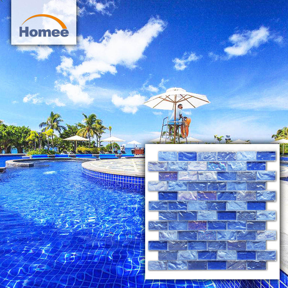 blue color Glossy sea glass mosaic pieces glass non-slip swimming pool mosaic tiles