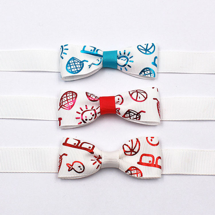 Custom pre-tied hot stamping print gift wrapping small ribbon bow