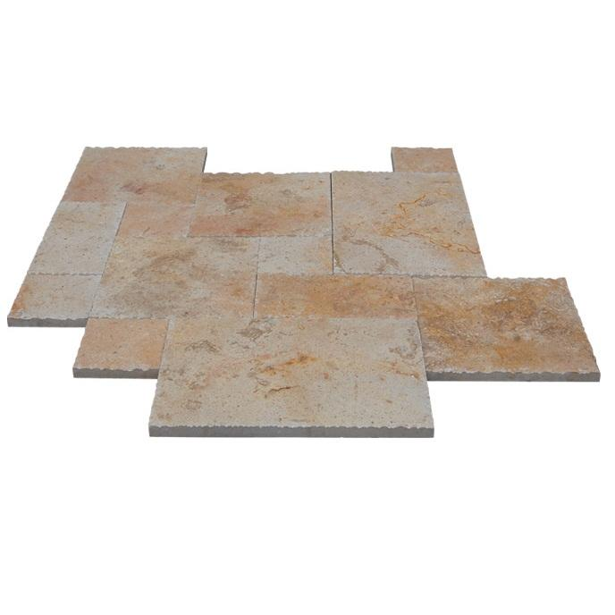 French Pattern Flag Stone Travertine Tiles Rusty Travertine Pavers For Sale
