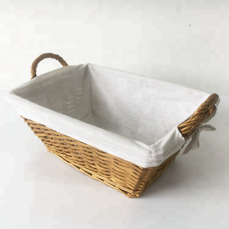 handmade golden rectangular half willow storage basket with fabric lining