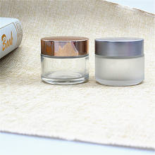 30ml 50ml 100ml frosted/clear glass candle jar with metal lid sleeping face mask glass jar