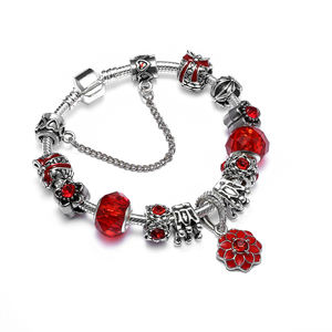 2017 Hot Sell Silver European Charm Bracelet For Women With Murano Glass Beads Flower DIY Pulseiras Jewelry