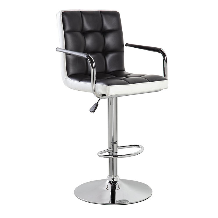 Comfortable cheap adjustable height swivel metal leather chair bar stool