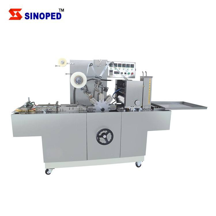 Automatic condom box 3d overwrapping stretch plastic film sweet chocolate box packing bar pleat soap cellophane wrapping machine