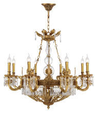 Dining Room Clear K9 Crystal Chandelier Ceiling Light Bedroom Luxury Bronze 8 Arms Pendant Light
