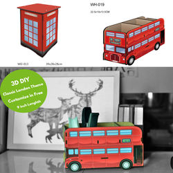 Cardboard British Bus Pen Pencil Container Office Supplies D
