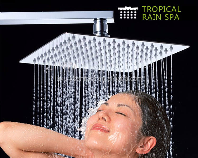 Luxury 10 inch 25cm stainless steel 304 chrome square metal Ultrathin rainfall shower head