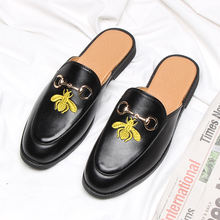 New arrival designer boys slip on black waterproof embroidered casual dress leather loafers half slippers shoes for womens