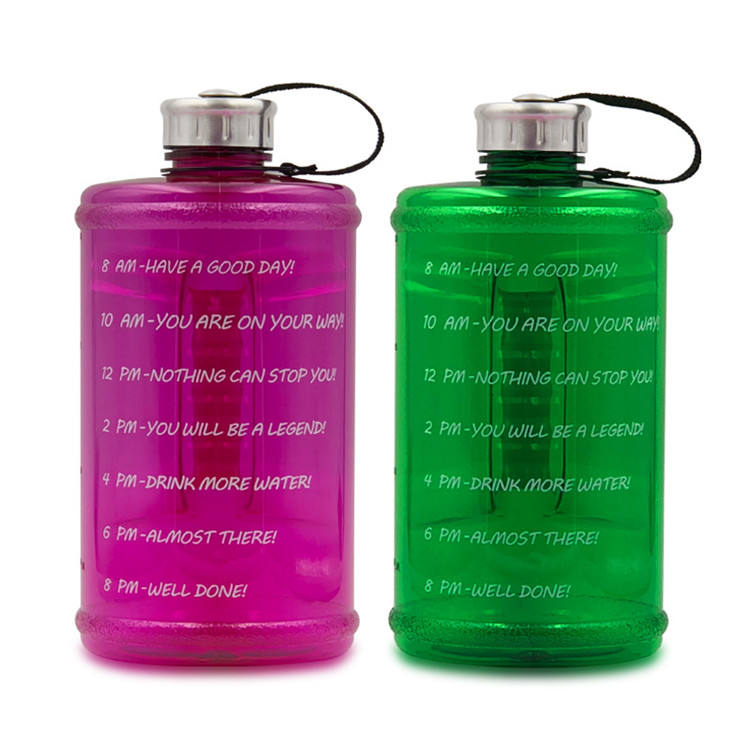 2.2l Free Leakproof Large Sport Water Bottle Reusable With Cleaning Brush Wide Mouth for Motivational Gym Fitness Camping