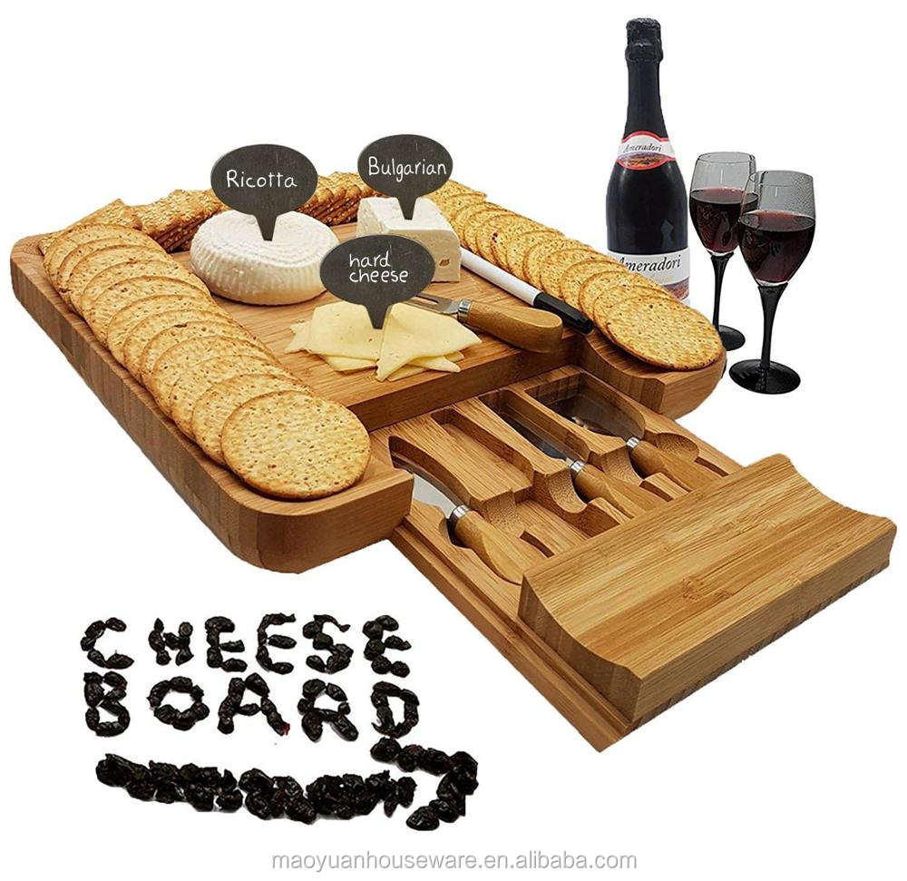 Cutting Board With Tray Bamboo Cheese Board With Drawer And Knife Set Cheese And Cracker Platter Cutting Serving Plate Tray