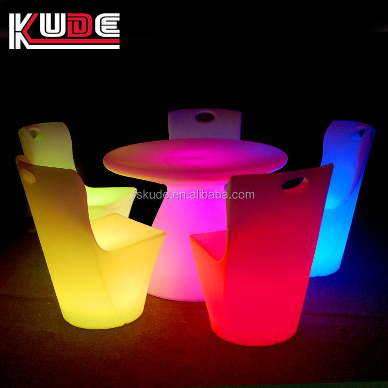 plastic LED glow single seater sofa chairs led bar furniture glowing dinning chairs