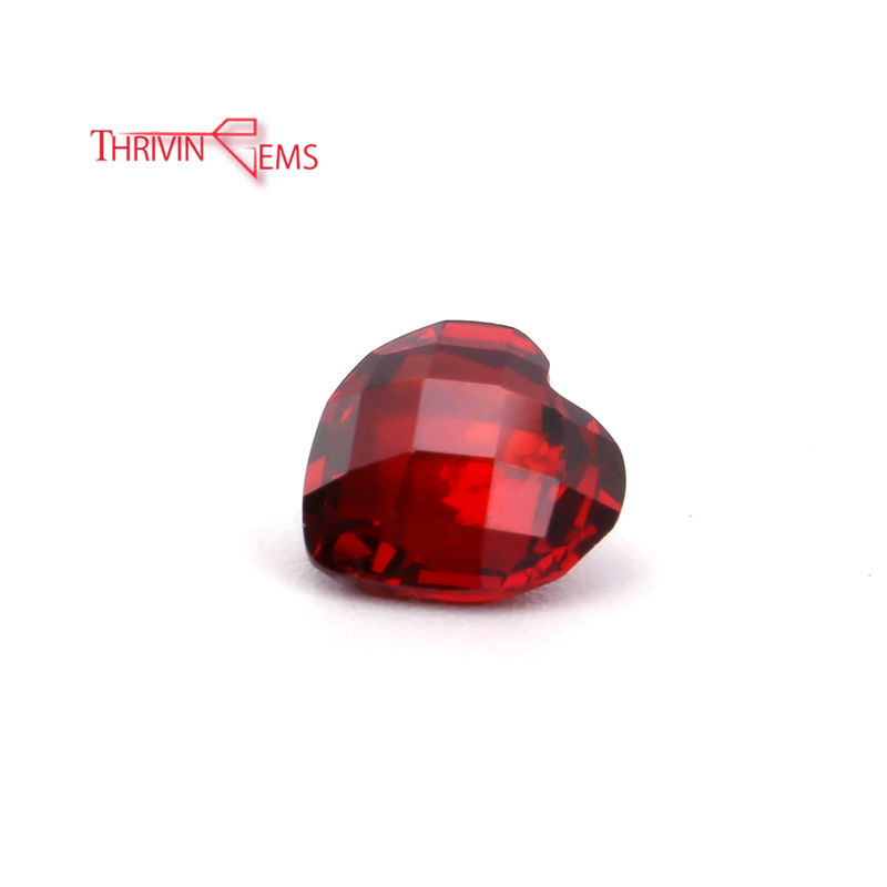 Red Coral Orange Red Double Side Heart Gemstone CZ Synthetic Gems Sale to Turkey