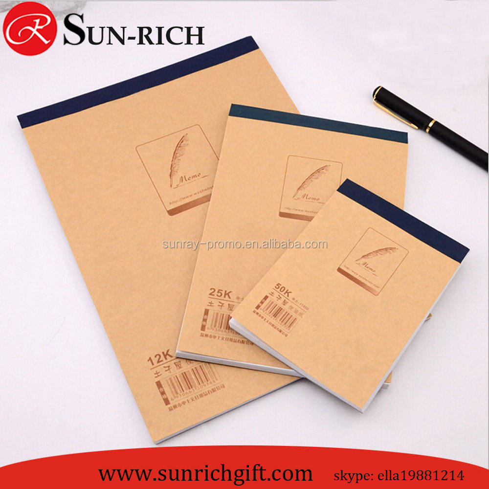 Cheap price custom logo bown craft paper cover A4 A5 A6 notepad company notepad