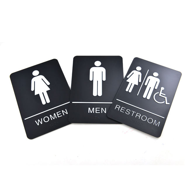 High quality unisex restroom plastic TACTILE ADA braille signs
