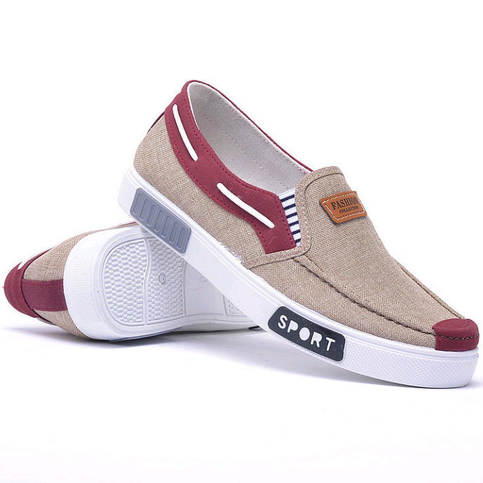 New korean men sports fashion trend flat fashion breathable canvas shoes