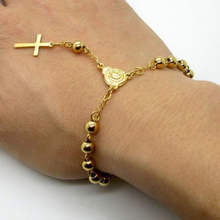 Yiwu Ruigang  Hot Sale Stainless Steel Bead Bracelet With Cross Pendant Jesus Rosary Bracelets