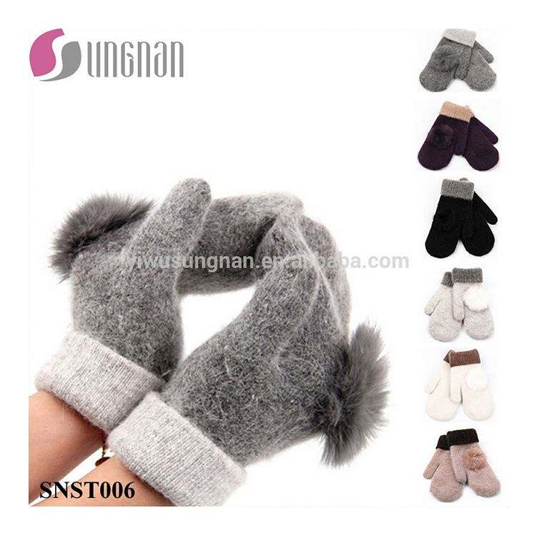 Winter Elegant Ladies Gloves Warm Rabbit Fur Ball Wool Mittens