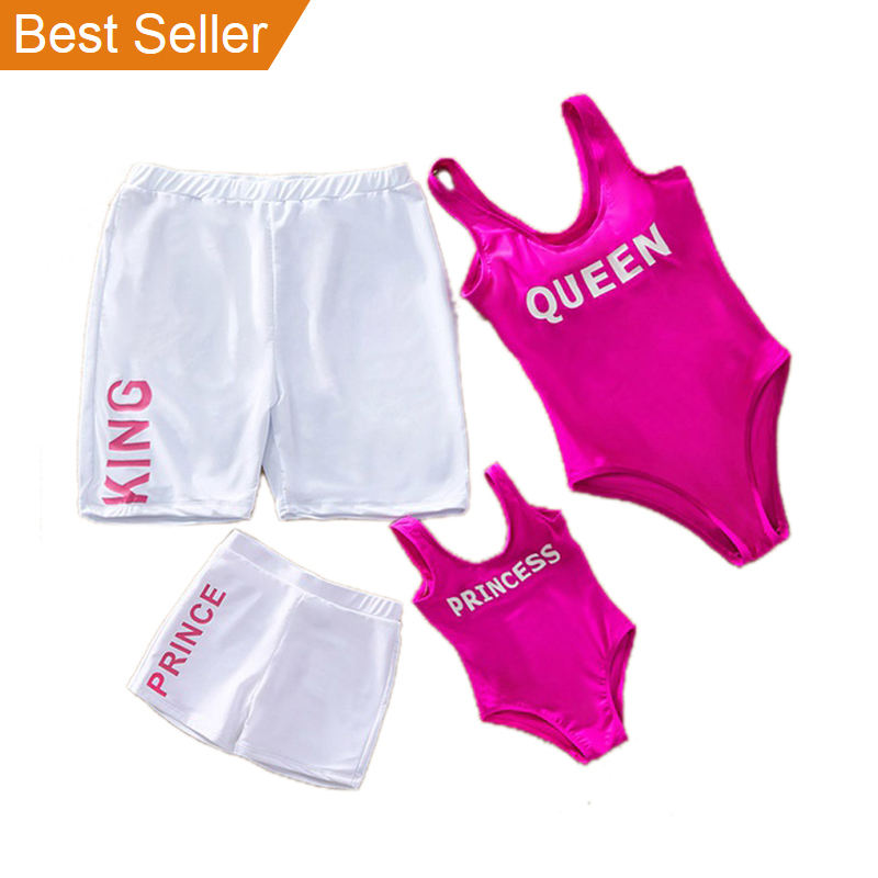 Manufacturer Solid Color Letter Print One Piece Brazilian Beach Men Women Kid Bikini Family swimwear & beachwear