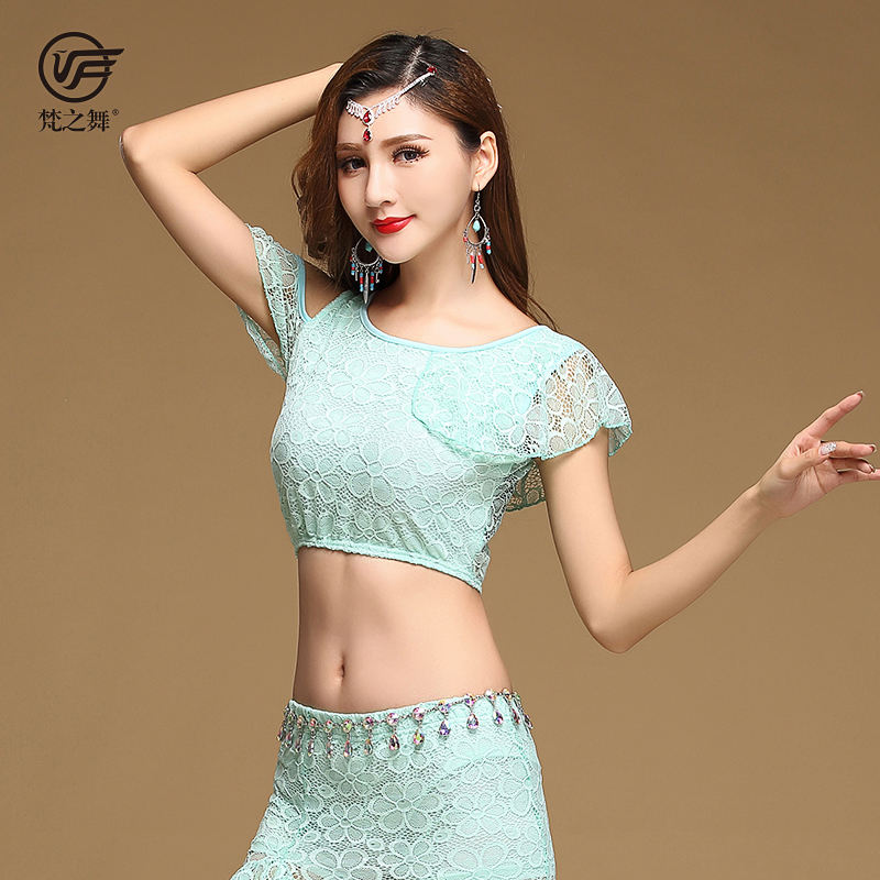 S713 Stage performance lace 4 colors belly dance costume top