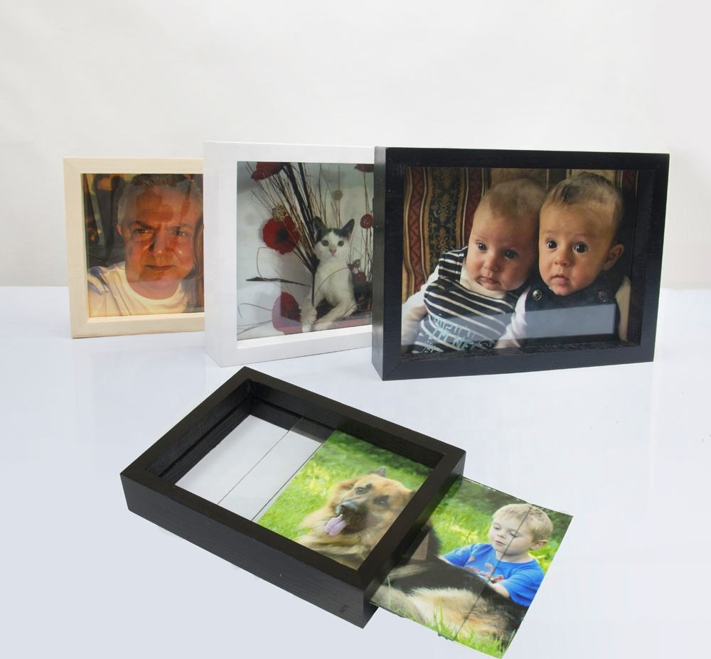 6x8 inch Natural Wood Color Double Sided Glass Picture Frame
