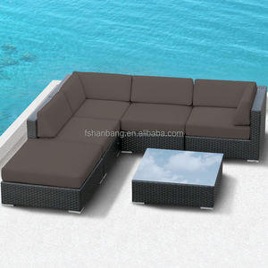 Rotan Outdoor Furniture Patio Wicker Sectional Hitam Modular Sofa Couch Lounge Set