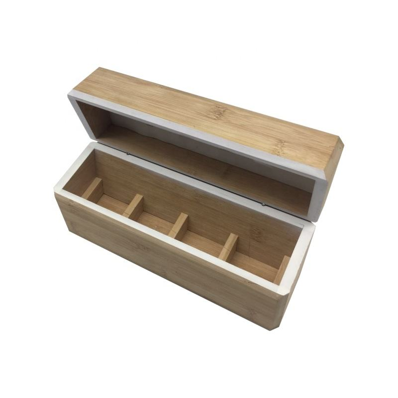 Wholesale delicate vintage style wooden tea box with 4 compartments