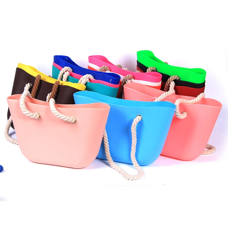 Environmental Classic size Jelly tote Beach style waterproof women Rubber handbag Silicone Bag For lady