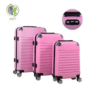 Free Sample Shell Luggage Case Printed Pink Hard Suitcase