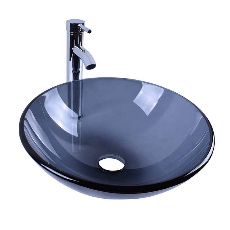 Bathroom Round Glass Vessel Sink Grey Crystal Basin with Faucet Pop-Up Drain