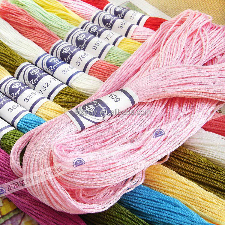 Wholesale high quality Royalbroider cross stitch thread with 100%cotton material ,embroidery thread cross stitch 8meters/piece