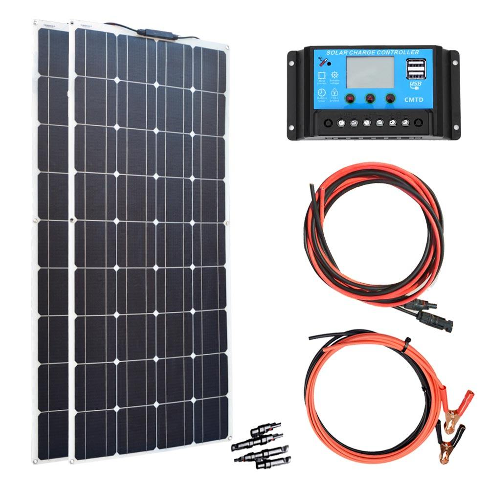 200W DIY Semi Flexible High Efficiency Monocrystalline Solar Energy Solar Panel System Home Kits for RV