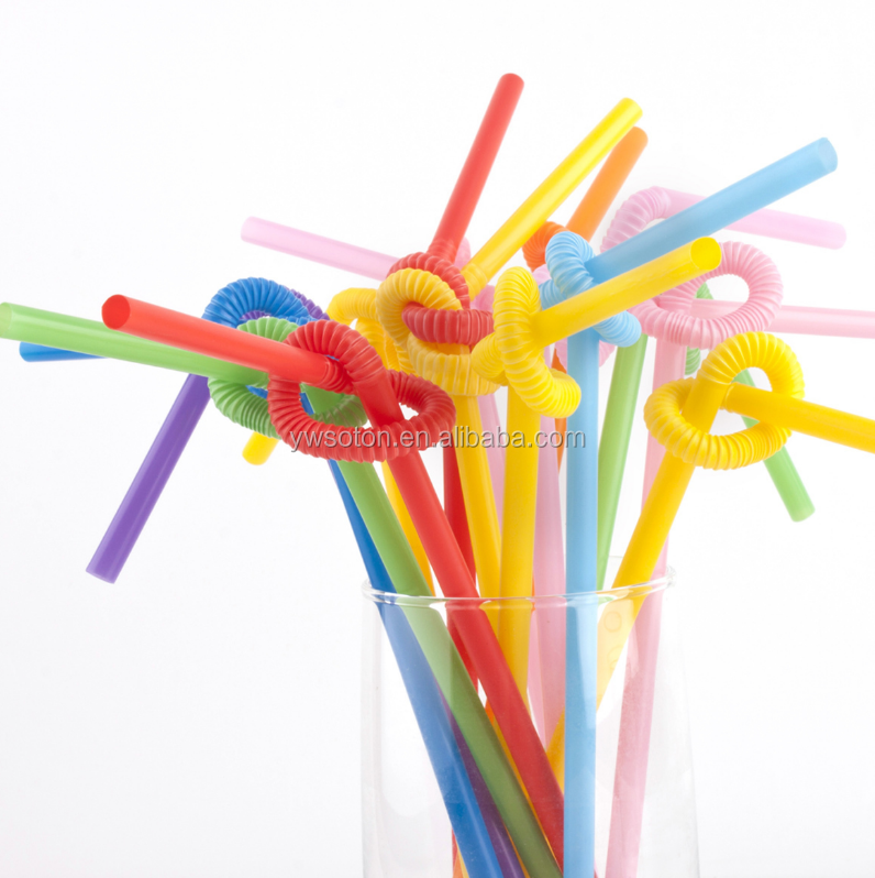 long straw creative color decoretive flexible Artistic long plastic drinking straw