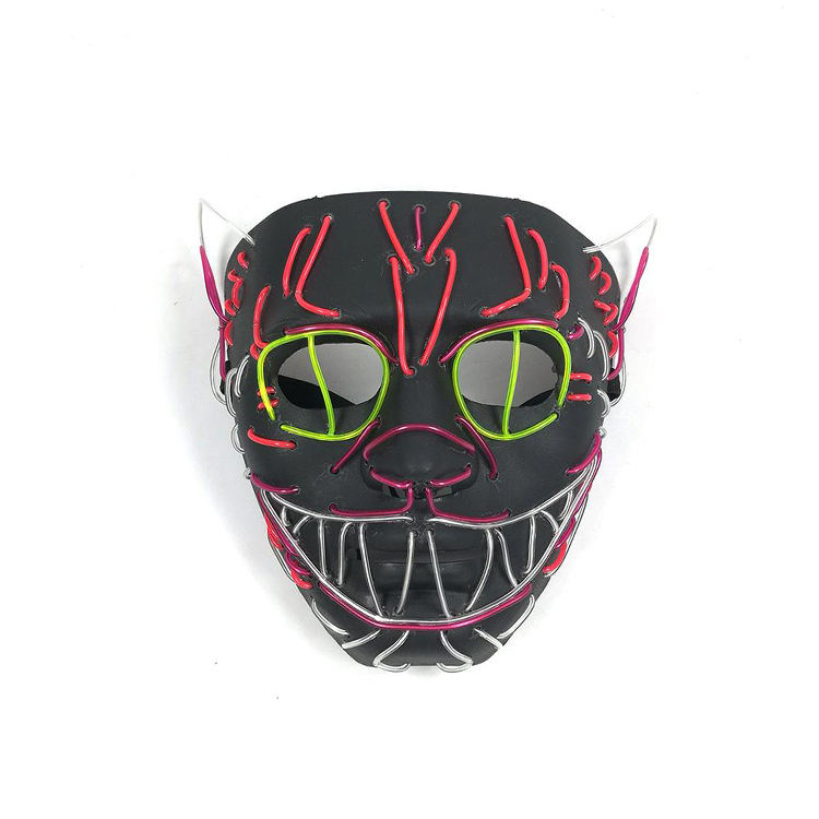 Christmas Led light EL Wire Cosplay Led light up mask Festival Party Holloween Costume Mask
