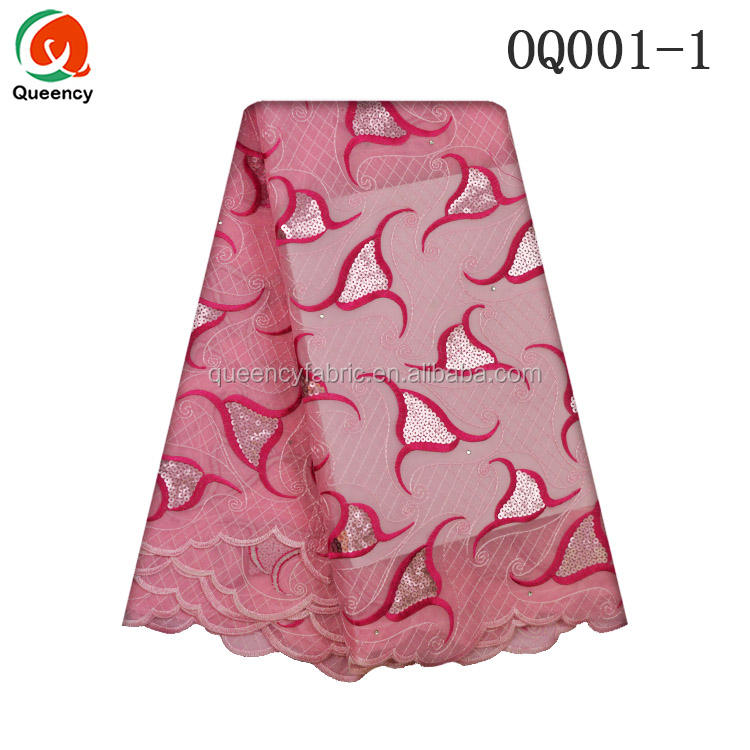 OQ001 Queency Afrikaanse Sequence Kant Stoffen <span class=keywords><strong>Organza</strong></span> 5 Yards