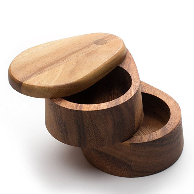 Bamboo Wood Double Swivel Salt Cellar with Magnetic Lid For Secure Strong Storage for Salt, Spices, Herbs, Seasoning & MORE
