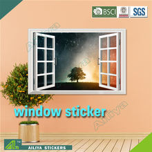 Waterproof custom beautiful scenery home decoration self adhesive 3D wall sticker window view