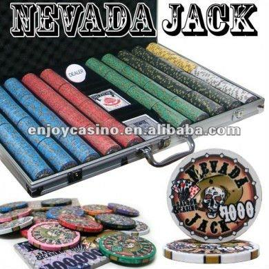 1000pc Nevada Jack professional Texas customized poker chip set