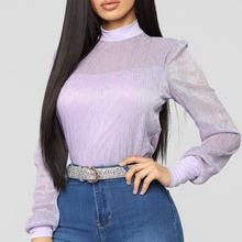 Women's Solid Bodysuit Single Breasted Purple Plus Size Long Sleeve Bodycon Jumpsuits For Women