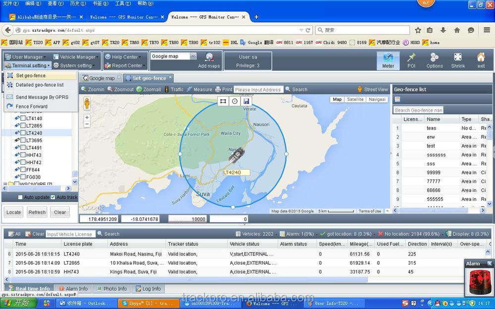 Software de seguimiento GPS/plataforma/sistema soporta múltiples idiomas y Cobán TK102 TK103 <span class=keywords><strong>GV300</strong></span> GT02 GT06 GT06N