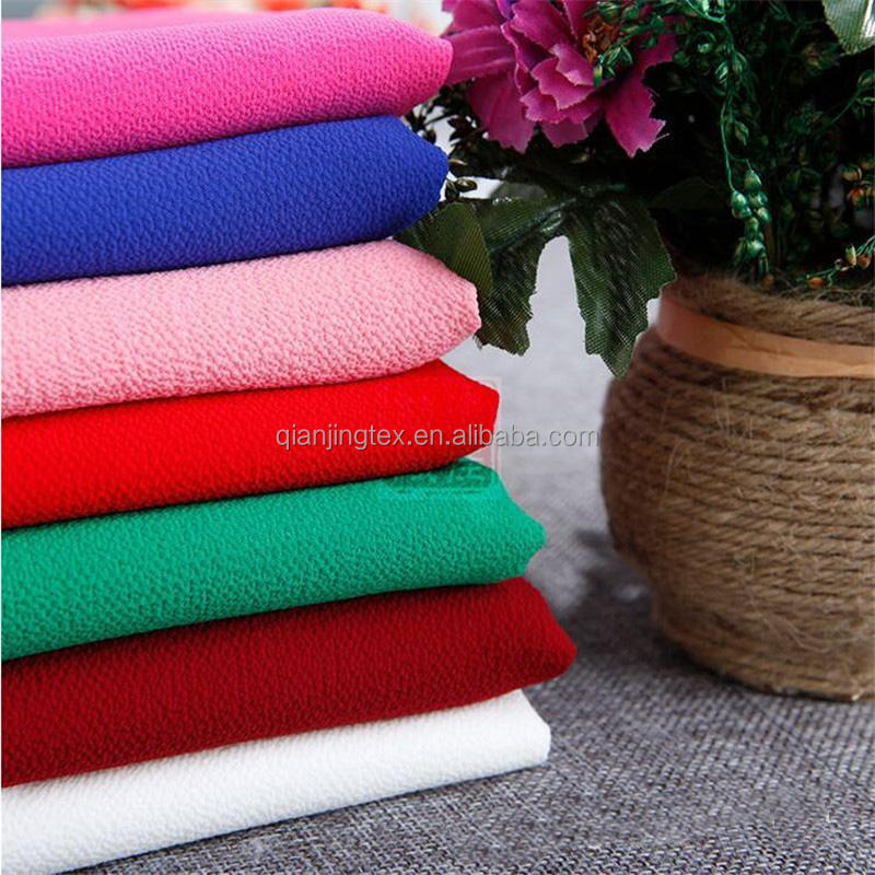 2018 high quality 170 colors in stock polyester crepe chiffon bubble fabric